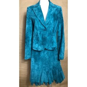 Stunning teal leather skirt suit by Context